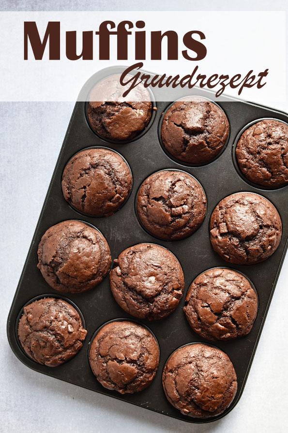 Muffins Grundrezept für helle oder dunkle Muffins, mit Schokotropfen, Früchten, Schokolade, Zitronenaroma etc. vegan möglich