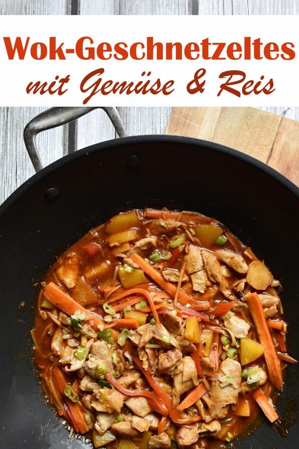 Wok Geschnetzeltes mit Gemüse, dazu Reis, Soßenbasis und Reis aus dem Thermomix, Rest im Wok oder einer großen Pfanne gemacht, Familienküche, vegetarisch & vegan machbar