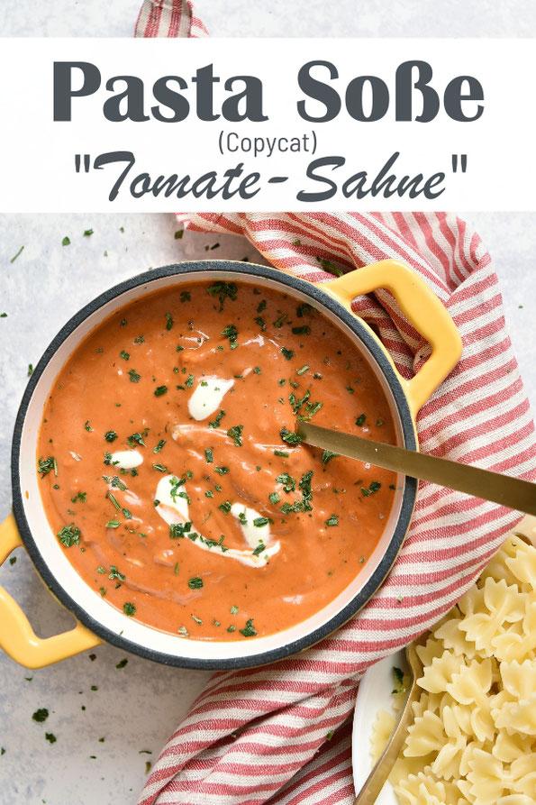 Pasta Soße Tomate Sahne - wie das Fertigprodukt aus der Tüte aus dem Supermarkt, Kopie, mit Tomatenmark, Sahne, Gewürzen, Frischkäse oder Mascarpone, Rezept aus dem Thermomix, vegetarisch, vegan möglich
