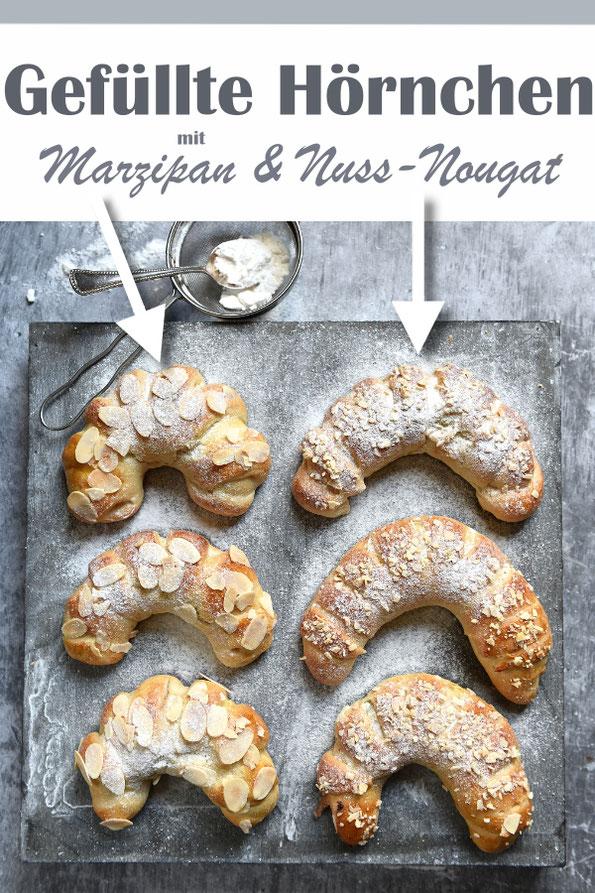 Gefüllte Hörnchen mit Marzipan und Nuss-Nougat-Creme, vegan möglich, Thermomix, Frühstück oder statt Kuchen