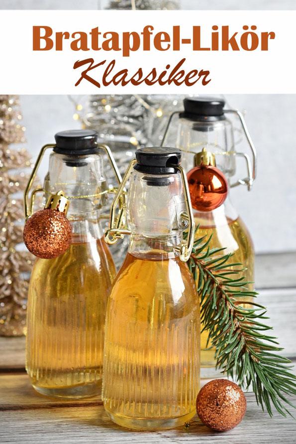 Bratapfel Likör Klassiker, mit Rum oder Likör 43, weihnachtlichen Gewürzen, Apfelkorn und Amaretto, Thermomix