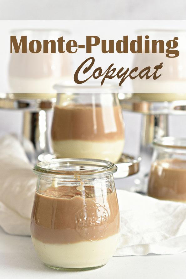 Monte Pudding selbst gemacht mit Vanillepudding und Nuss-Nougat-Pudding, Thermomix, Dessert, vegetarisch, vegan möglich