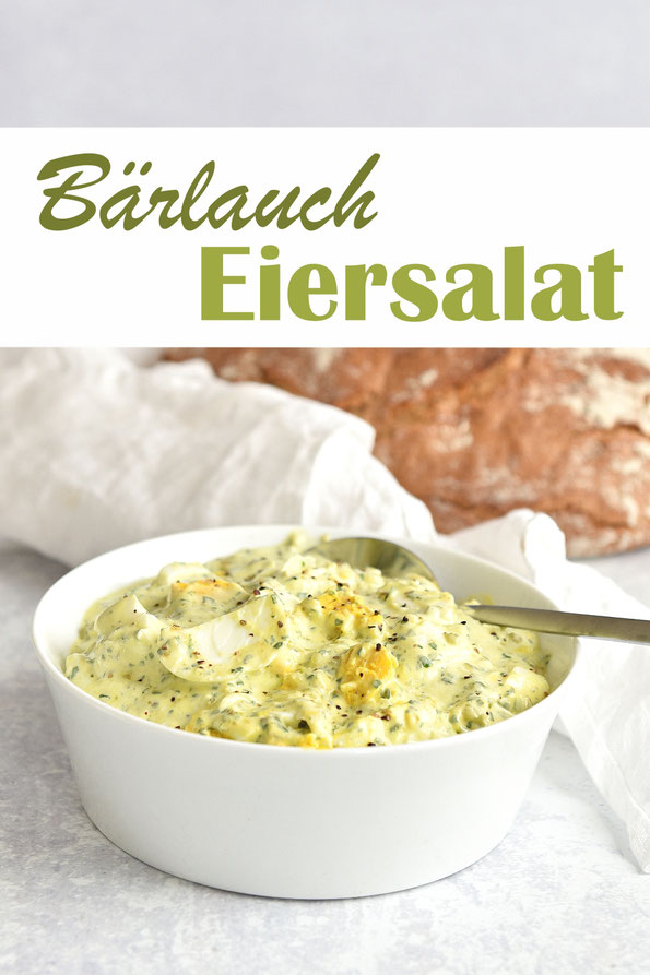Bärlauch Eiersalat mit Eiern, Gewürzgurken, Joghurt, Mayonnaise, Senf, Bärlauchpaste, Thermomix, vegetarisch