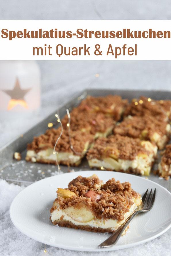 Spekulatius Streuselkuchen mit Quark und Apfel, weihnachtlicher Blechkuchen, Thermomix, vegan möglich
