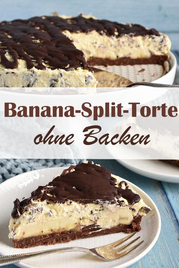 Banana Split Torte ohne Backen, mit Keksboden, Bananen, Vanille-Straciatella-Creme und Schokoguss, vegan und glutenfrei möglich, Thermomix