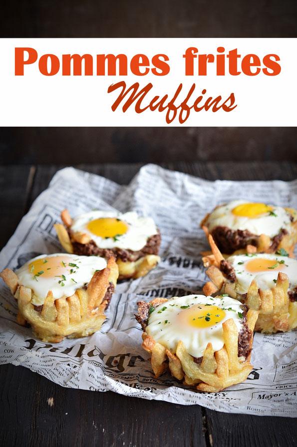 Pommes frites Muffins mit Veggie Hack und Ei, Fast Food mal anders, Kinder Highlight als Snack oder zum Mittagessen, statt Burger, vegetarisch, Thermomix