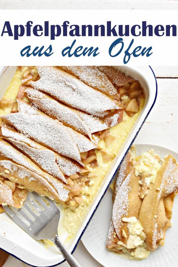 Apfelpfannkuchen gefüllt, aus dem Ofen, Süßspeise oder Dessert, Teig aus dem Thermomix, vegetarisch