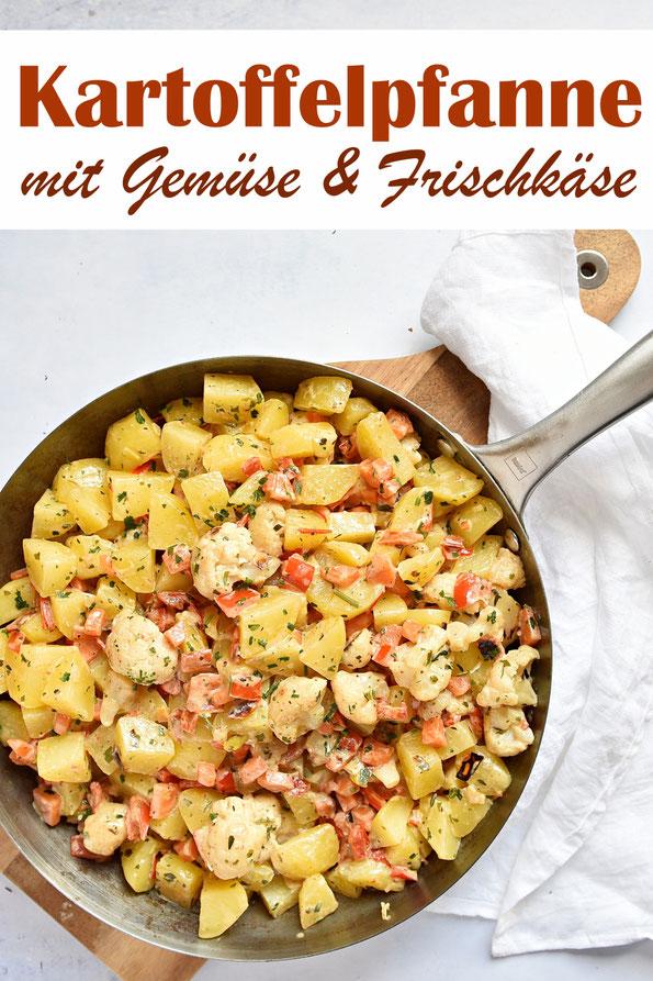 Kartoffelpfanne mit Gemüse und Frischkäse, z.B. Paprikaschoten, Blumenkohl oder anderes Gemüse nach Wahl, Kartoffeln aus dem Thermomix, Mittagessen, vegetarisch
