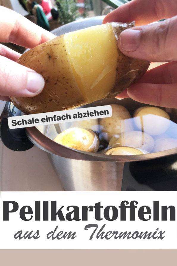 Pellkartoffen aus dem Thermomix, im Gareinsatz oder in großer Menge mit dem Wundercap gekocht, eingeritzt für ein leichteres Pellen