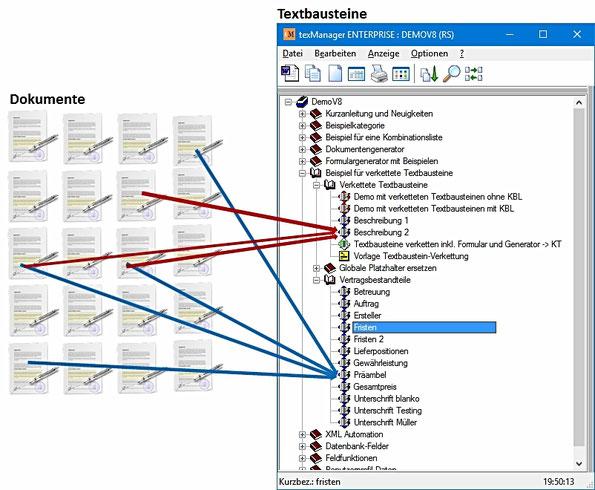 texManager Textbausteine mit Dokumenten verknüpfen