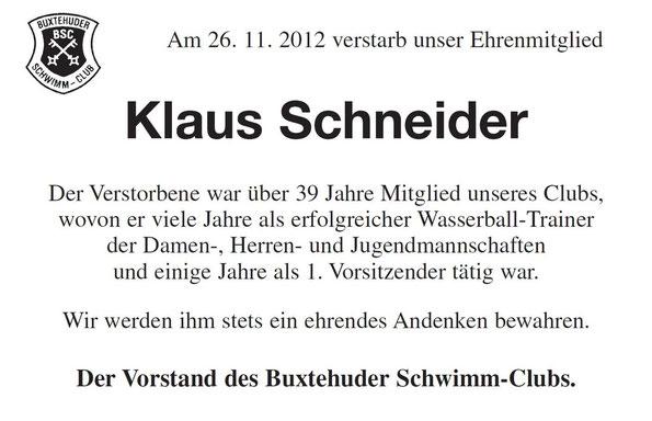 Traueranzeiger Klaus Schneider, Buxtehuder Tageblatt 05.12.2012