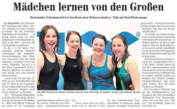 BSC-Schwimmen/Buxtehuder Schwimm-Club bei den Deutschen Meisterschaften, Neue Buxtehuder Wochenblatt vom 04.05.2013