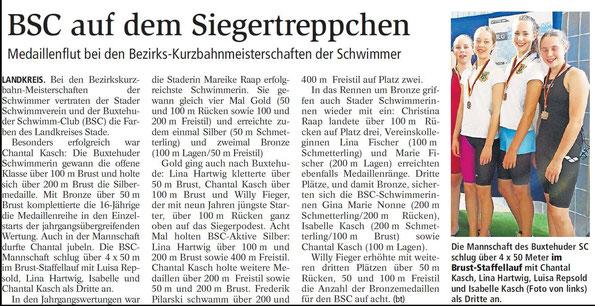 Buxtehuder Tageblatt vom 22.10.2014 - BSC auf dem Siegertreppchen