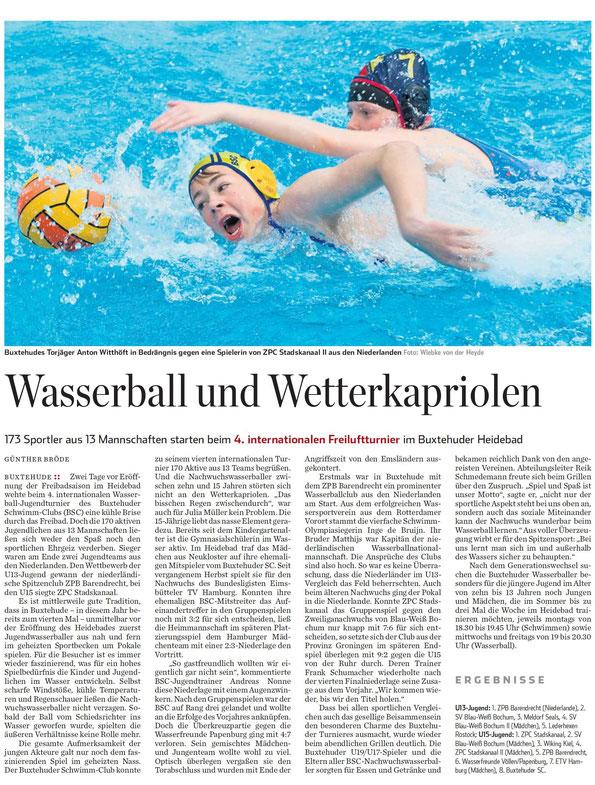 Jugendwasserballturnier in Buxtehude. Hamburger Abendblatt vom 15.05.2014