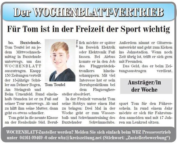 Unser Jugendspieler Tom Teufel ist sehr aktiv. Er sorgt dafür, dass die Wasserball-Artike im Wochenblatt beim Leser landen.