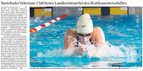 Schnellste über 100 Meter Brust war Chantal Kasch, 15, vom Buxtehuder SC in 1:17,06 Minuten, damit wurde sie Bezirksmeisterin in der offenen Wertung. Hamburger Abendblatt vom 02.11.2013
