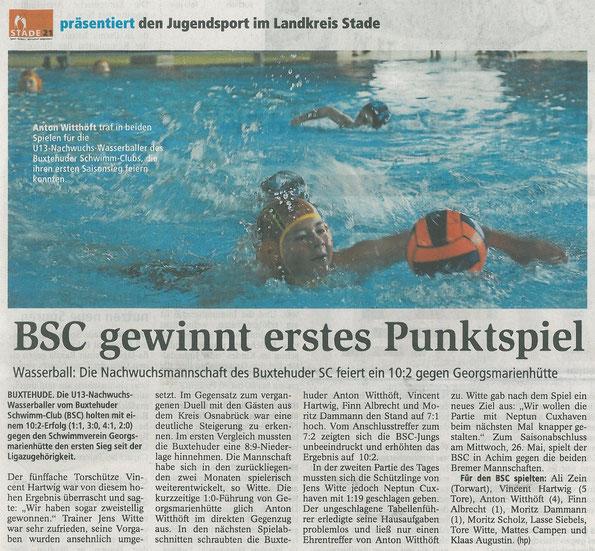 Buxtehuder Tageblatt vom 17.04.2013, BSC U13 gewinnt erstes Punktspiel