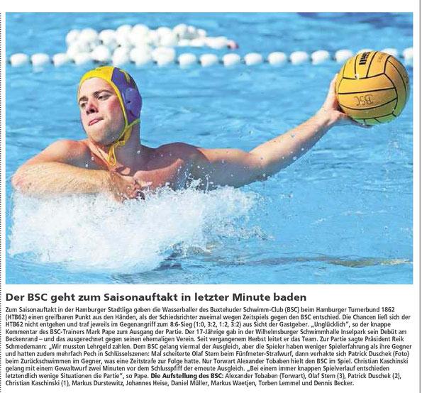 BSC-Wasserball, Buxtehuder Tageblatt vom 15.01.2014