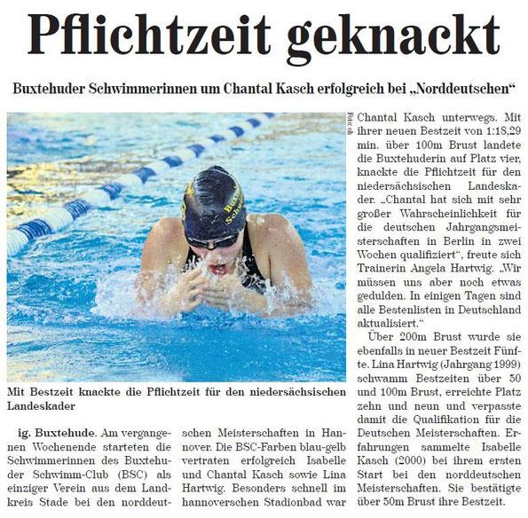 """Buxtehuder Schwimmerinnen um Chantal Kasch erfolgreich bei den """"Norddeutschen"""", Neue Buxtehuder Wochenblatt vom 08.06.2013"""