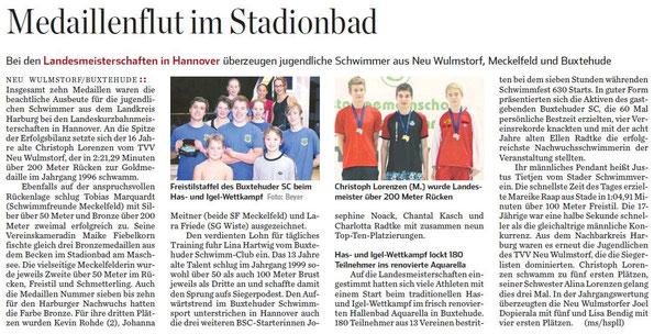 Medaillienflut im Stadionbad, Hamburger Abendblatt vom 14.11.2012