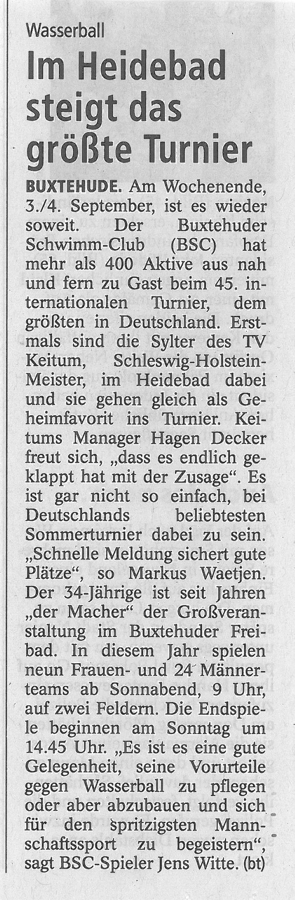 Buxtehuder Tageblatt vom 2. September 2016. Wasserball: Im Heidebad steigt das größte Turnier