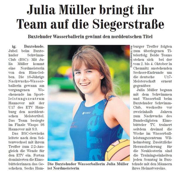 Neue Buxtehuder Wochenblatt vom 19. September 2015. Wasserball/Julia Müller aus Buxtehude holt mit ETV Hamburg den U17-Nordtitel