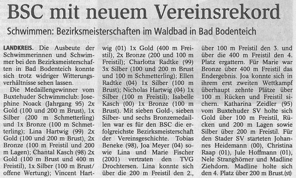 BSC mit neuem Vereinsrekord. Buxtehuder Tageblatt vom 01.06.2013