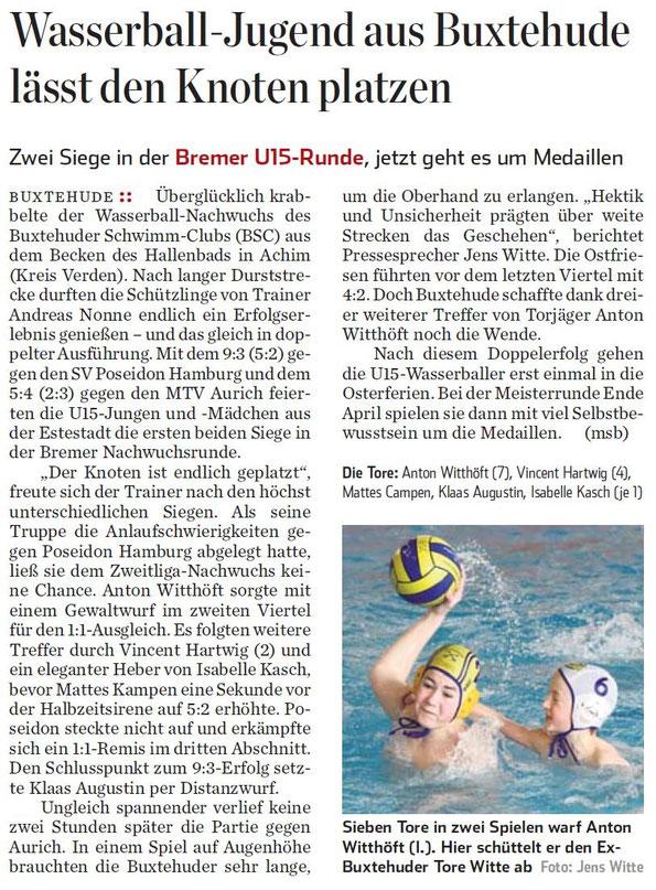 Wasserball-Jugend aus Buxtehude lässt den Knoten platzen