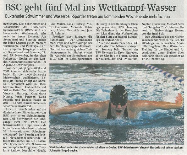 Buxtehuder Tageblatt vom 23.11.2012