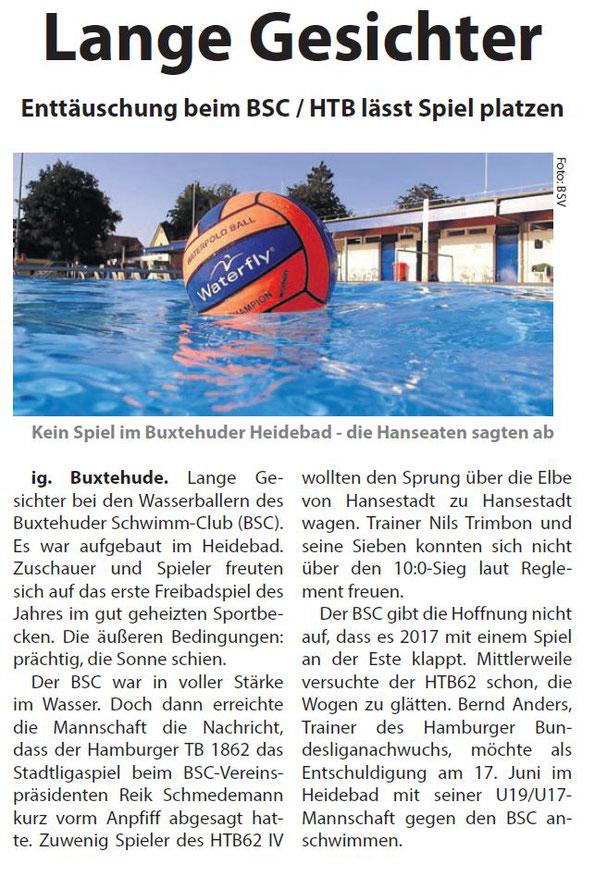 Wasserball: HTB62 sagt Spiel in Buxtehude ab. Neue Buxtehuder/Stader Wochenblatt vom 1. Juni 2016