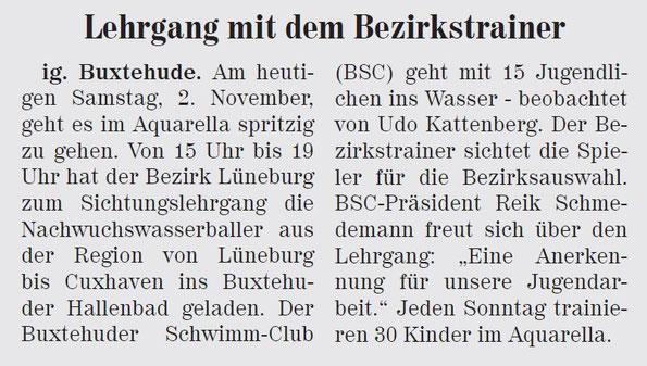 Wasserball mit dem Bezirkstrainer. Neue Buxtehuder Wochenblatt vom 02.11.2013