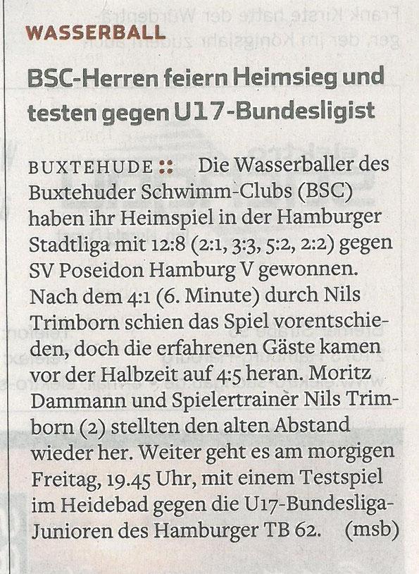 Hamburger Abendblatt vom 16. Juni 2016. Wasserball: Buxtehuder Herren feiern Heimsieg und testen gegen U17-Bundesligisten
