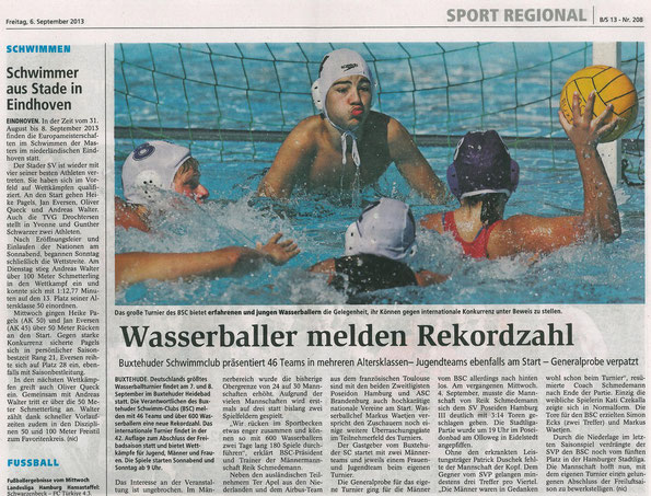 Wasserball melden Rekordzahl. Buxtehuder Tageblatt vom 06.09.2013