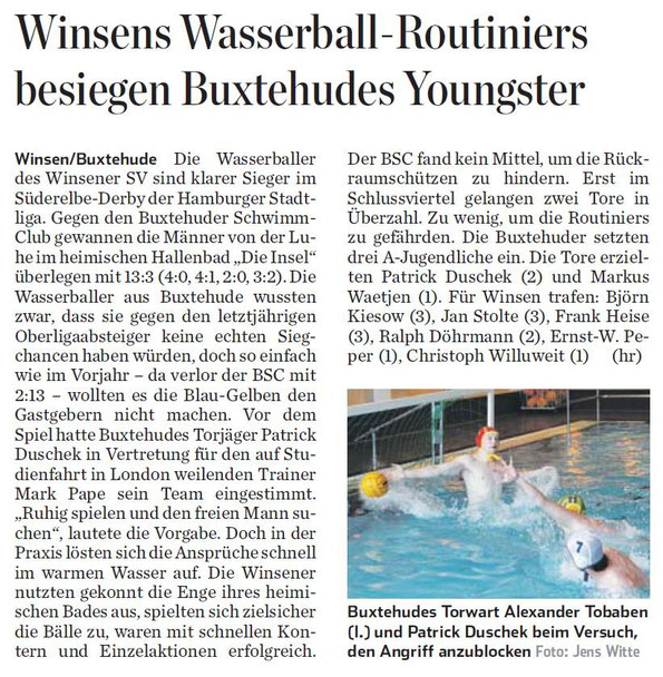 Winsens Wasserball-Routiniers besiegen Buxtehude Youngster. Hamburger Abendblatt vom 08.05.2014