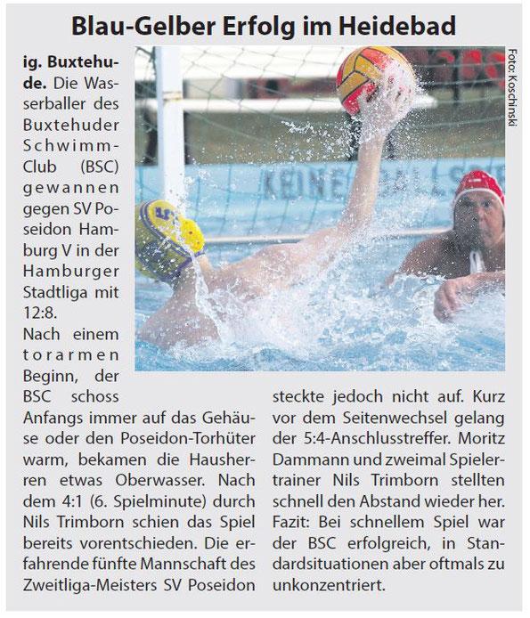 Wasserball: Blau-Gelber Erfolg im Heidebad. Buxtehuder SC - SV Poseidon Hamburg V 12:8. Neue Buxtehuder/Stader Wochenblatt vom 18. Juni 2016