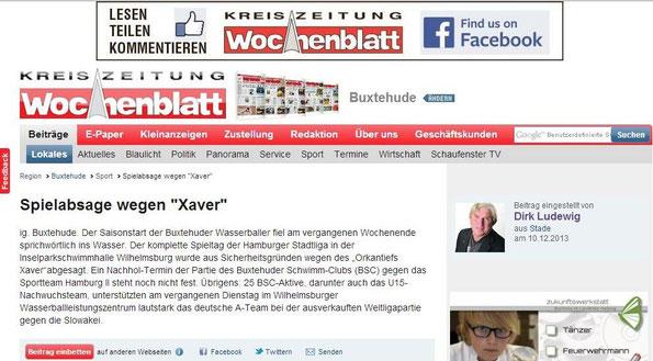 """Spielabsage wegen """"Xaver"""". Neue Buxtehuder Wochenblatt vom 10.12.2013 - Onlineausgabe"""