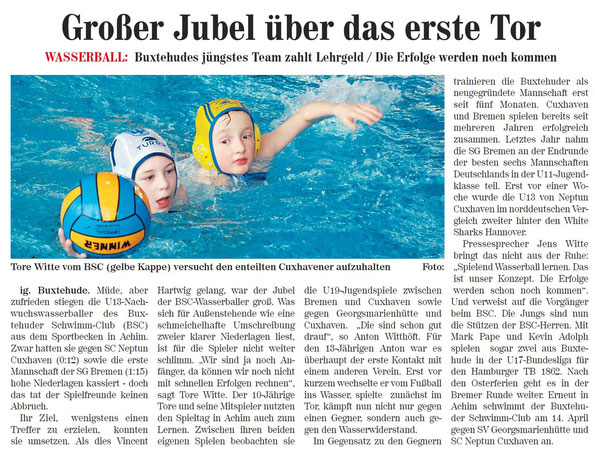 Neue Buxtehuder Tageblatt vom 13.03.2013. Großer Jubel über das erste Tor, Buxtehude Wasserball