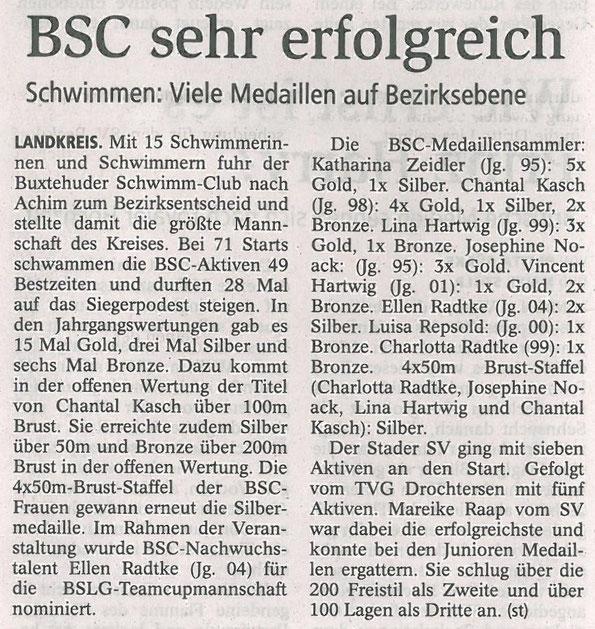 Bezirksschwimmmeisterschaften in Achim. Buxtehuder Tageblatt vom 01.11.2013