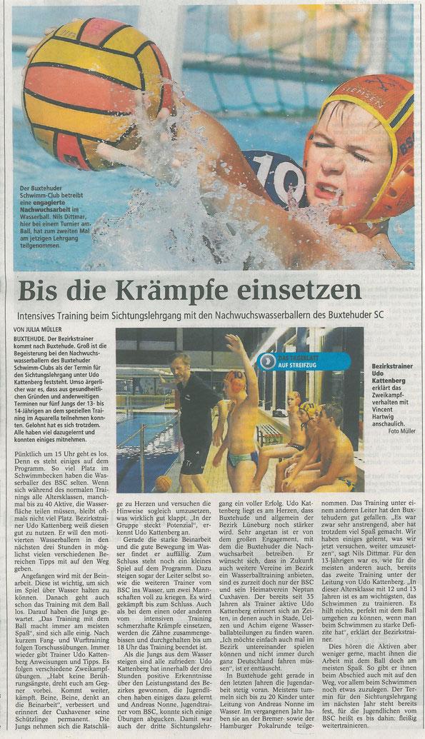 Buxtehuder Tageblatt vom 18.11.2014 - Intensives Training beim Sichtungslehrgang mit den Nachwuchswasserballern des Buxtehuder SC