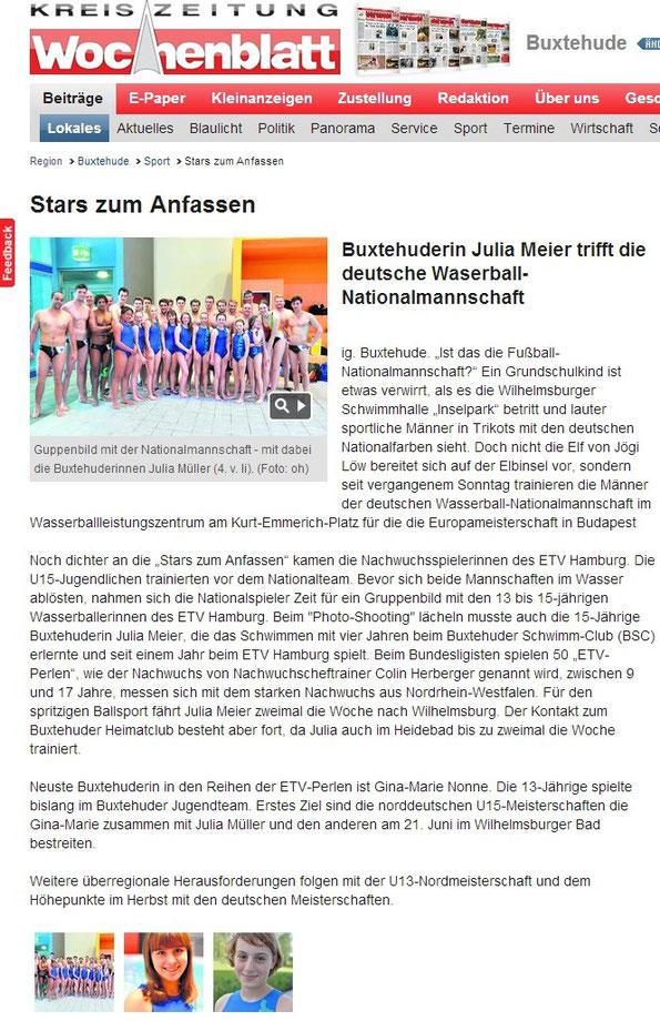 Buxtehuderin Julia Meier trifft die deutsche Wasserball-Nationalmannschaft
