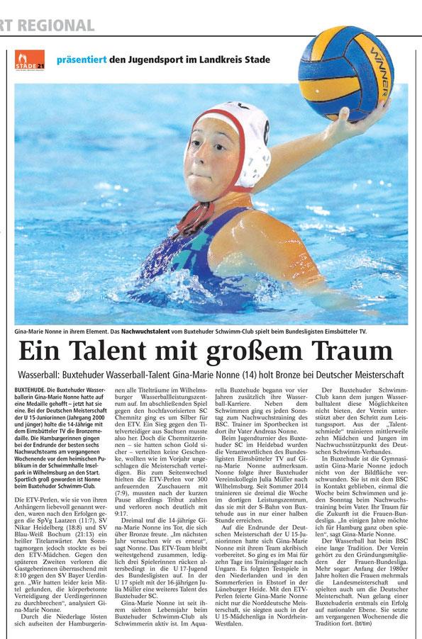 Wasserball: Buxtehuder Wasserball-Talent Gina-Marie Nonne (14) holt Bronze bei Deutscher Meisterschaft