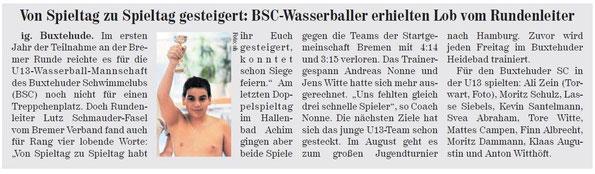 BSC U13-Wasserballer holen 4. Platz, Neue Buxtehuder Wochenblatt vom 01.06.2013