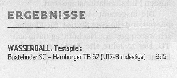 Wasserball, Testspiel: Buxtehuder SC - HTB62. Hamburger Abendblatt vom 20. Juni 2016