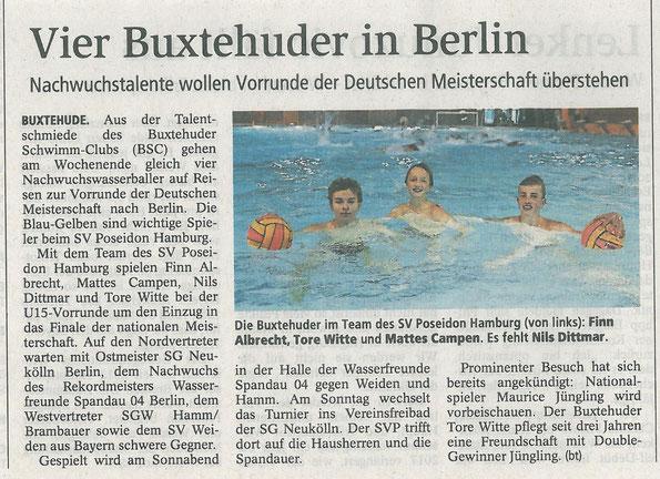Buxtehuder Tageblatt vom 18.09.2015: Wasserball/Vier Buxtehuder in Berlin