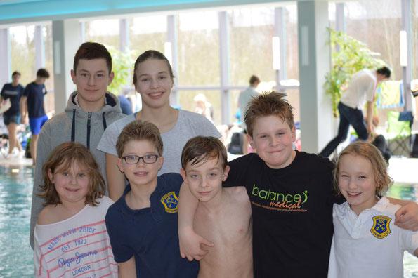 BSC-Teilnehmer bei den Bezirksmeisterschaften: v.l. Lotte, Frederik, Jennis, Lea, Luca, Willy und Pauline