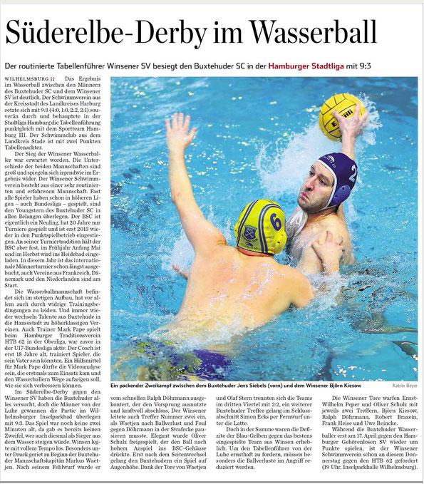 Süderelbe-Derby im Wasserball. Der routinierte Tabellenführer Winsener SV besiegt den Buxtehuder SC in der Hamburger Stadtliga mit 9:3.