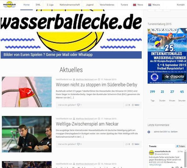 Top-Meldung des Tages auf www.wasserballecke.de ! Das Süderelbe-Derby vor dem heutigen Weltligaspiel!
