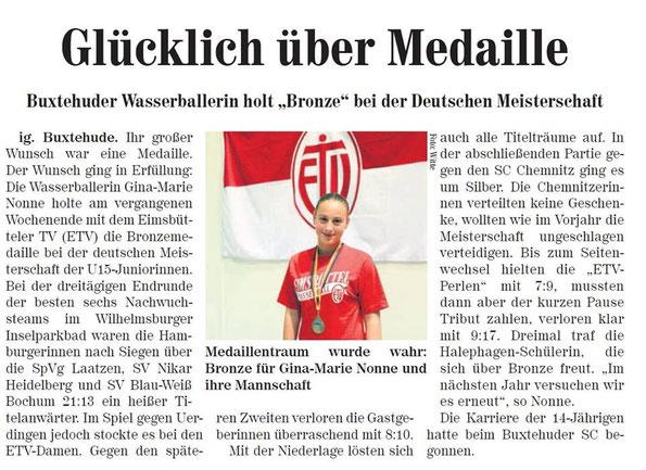 """Buxtehuder Wasserballerin holt """"Bronze"""" bei der Deutschen Meisterschaft"""