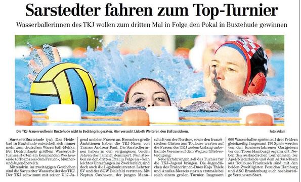 Sarstedter fahren zum Top-Turnier. Hildesheimer Allgemeine Zeitung/Sarstedter Anzeiger vom 04.09.2013