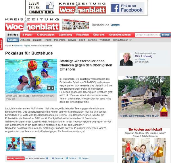 Wasserball: Pokalaus für Buxtehude